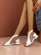 Women Microfiber Leather Splicing Breathable Mesh Fashion Casual Round Heel Ankle Boots - White