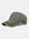 Men Washed Cotton Letter Pattern Baseball Cap Outdoor Sunshade Adjustable Hat - Green
