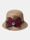 Women Woolen Cloth Solid Bowknot Decoration Outdoor Warmth Breathable Bucket Hat - Khaki
