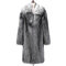 Mens Faux Fox Fur Mid-long Coat Thickened Warm Single-breasted Casual Trench Coat - Silver Grey