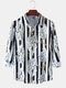 Mens Tiger Letter Stripe Print Relaxed Fit Casual Long Sleeve Shirts - White