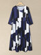 Color Contrast Plus Size O-neck Casual Big Swing Dress - Blue