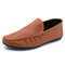 Men Hand Stitching Leather Comfy Slip Resistant Soft Business Casual Loafers - Brown