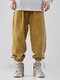 Mens Corduroy Solid Color Drawstring Cuff Jogger Pants With Pocket - Yellow