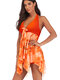 Plus Size Halter Print Irregular Bowknot Backless Swimdresses With Paddings For Women