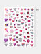 3D Nail Art Stickers Adhesive Colorful Love Heart Red Lips Rose Valentine's Day Stickers - #05