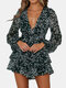 Floral Print Layer Ruffle Knotted V-Neck Long Sleeve Culotte Romper - Black