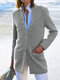 Casual Cotton Blended Long Sleeve Stand Collar Plus Size Coat - Grey