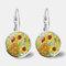 Vintage Geometric Round Oil Painting Series Earrings Metal Glass Gem Daisy Pendant Ear Clips - 9