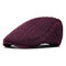 Men Thickening Adjustable Cotton Solid Warm Breathable Vintage Wool Knitting Beret Cap - Wine Red