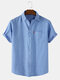 Mens 100% Cotton Breathable Solid Color Casual Short Sleeve Shirts With Pocket - Light Blue