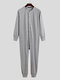 Pure Color Casual Thin Soft Home Long Sleeve O-Neck Button Jumpsuit Onesies For Men - Grey