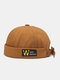 Unisex Cotton Solid Color Letter Pattern Patch Fashion Sunshade Crimping Brimless Beanie Landlord Cap Skull Cap - Brown