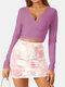Solid Color Deep V-neck Long Sleeve Casual Blouse For Women - Pink