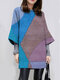 Contrast Color Casual Long Sleeve O-neck Dress For Women - Blue