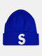 ユニセックスニットウールSレターパターン刺繡ビーニーハットニット帽 - 濃紺