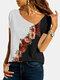 Calico Print Patchwork Asymmetrical Long Sleeve Plus Size Blouse for Women - White