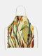 木と鳥の絵のパターンのクリーニングColorfulエプロン家庭料理キッチンエプロンクックウェアコットンリネン大人のよだれかけ - #06