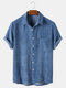 Mens Corduroy Solid Color Breathable Casual Short Sleeve Shirts - Blue