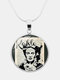 Printed Woman Black Cat Glass Pendant Men Women Long Necklace Jewelry Gift - #06