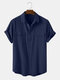 Men 100% Cotton Solid Color Double Pocket Casual Shirt - Navy