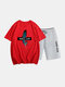 Mens Two Piece 100% Cotton Graphic Printed Sport Casual Drawstring Loungewear Set - Red 2