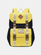 Women Waterproof Patchwork Large Capacity Travel Backpack School Bag - Yellow