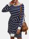 Striped Print Knotted Knitted O-neck Long Sleeve Casual Dress for Women - Navy