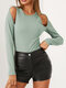Solid Color Long Sleeve O-neck Off Shoulder Casual T-Shirt For Women - Green