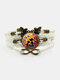 Vintage Printed Black Cat Flower Women Bracelet Multilayer Butterfly Pendant Bracelet - White