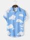 Mens Cloud Print Button Up Holiday Short Sleeve Shirts - Blue