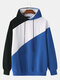 Mens Patchwork Contrast Color Casual Drawstring Hoodies - Blue