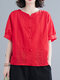 Solid Embroidery O-neck Short Sleeve Button Vintage Blouse - Red