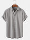 Mens Cotton Breathable Solid Color Casual Short Sleeve Shirts-5Colors - Grey