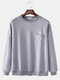 Mens Butterfly Embroidery Cotton Drop Shoulder Chest Pocket Loose Pullover Sweatshirts - Gray