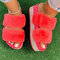 Women's Large Size Solid Color Side Rhinestone House Furry Slippers - Red