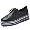 Women's Pure Black And White Side Comfortable Flat Oxfords Shoes - Black