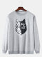 Mens Cartoon Wolf Chest Print Solid Daily Loose Fit Pullover Sweatshirts - Grey