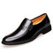 Men Microfiber Leather Breathable Slip-on Business Casual Dress Shoes - Black