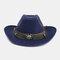Men And Women Western Cowboy Ethnic Wind Straw Hat Outdoor Beach Hat - Navy