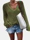 Solid Color V-neck Long Sleeve Casual Sweater For Women - Green
