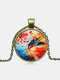 Vintage Glass Printed Women Necklace Colored Cat Flower Pendant Necklace Jewelry Gift - Bronze