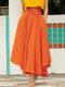 تنورة سادة اللون بأربطة بسحاب جانبي غير متناظرة - البرتقالي