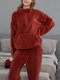 Women Pure Plush Fluffy Kangaroo Pocket Pullover High Neck Zip Front Home Pajama Set With Jogger Pants - Red