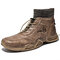 Men Vintage Hand Stitching Comfy Leather Ankle Elastic Sock Boots - Brown