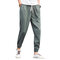 Mens Summer Breathable Cotton Linen Chinese Style Drawstring Solid Color Casual Pants - Green