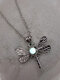 Vintage Stylish Dragonfly-shape Pendant Alloy Luminous Beads Necklaces - Yellow Green