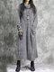Vintage Corduroy Pocket Long Sleeve Casual Midi Dress - Grey