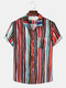 Mens Colorful Striped Printing Lapel Short Sleeve Holiday Shirts - Multi Color