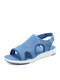 Women Casual Large Size Opened Toe Pure Color Light Weight Sport Sandals - Purple Blue
